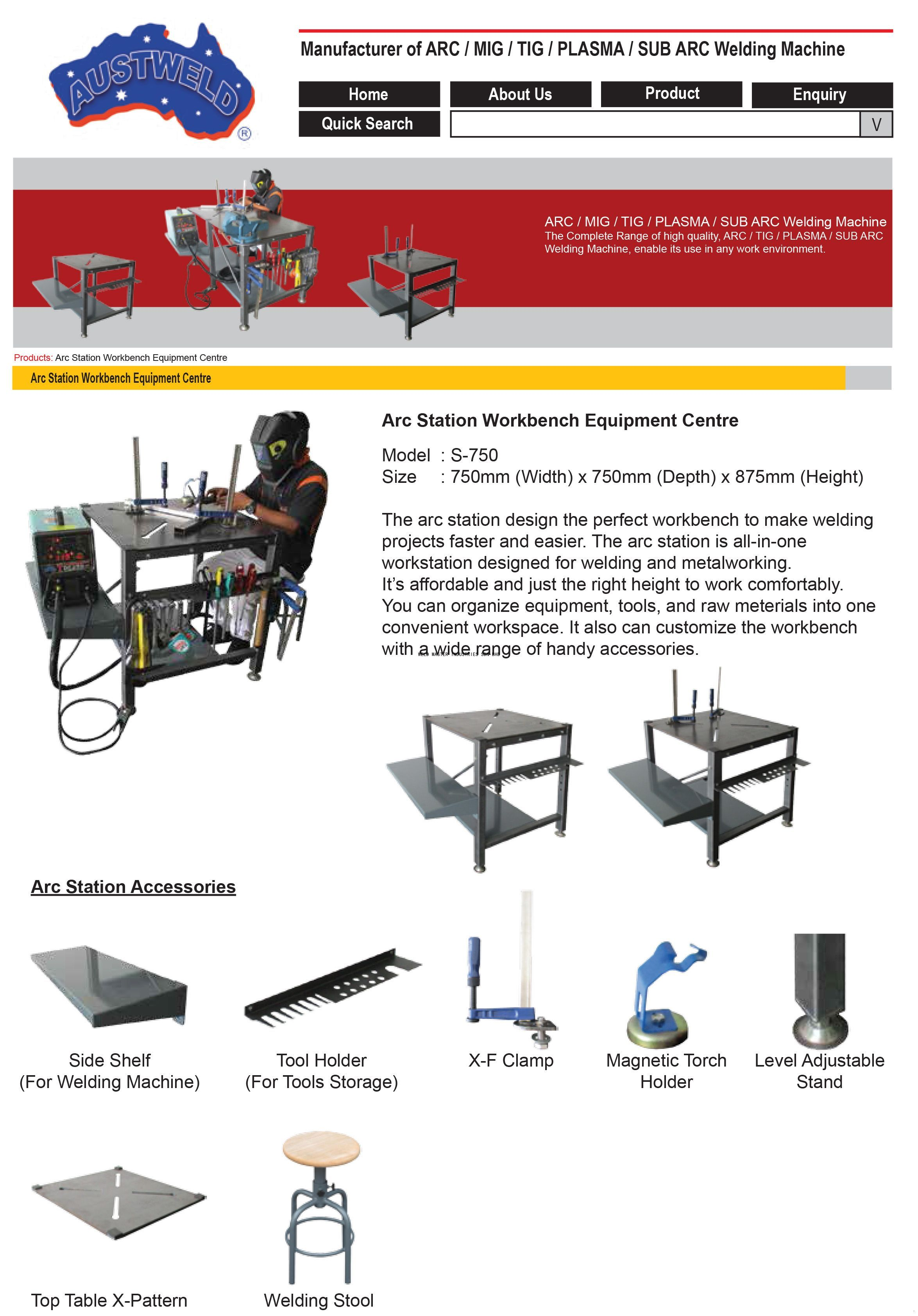 Arc Station Workbench Products Weld Master Industries Sdn Bhd Welding Machine Diagram Enquipment Centre S 750
